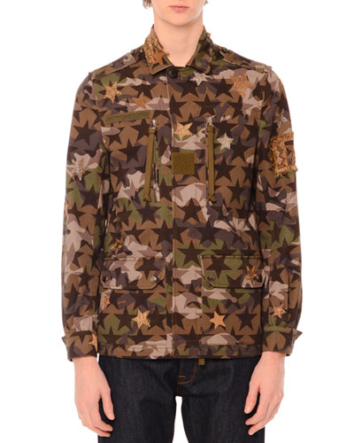 Camo-Star Print & Embroidered Jacket, Green Multi