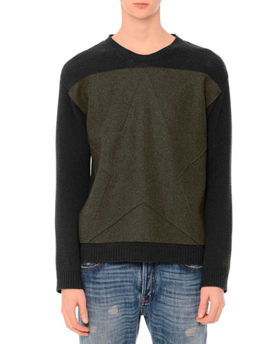 Tonal-Star Patch Colorblock Crewneck Sweater, Army
