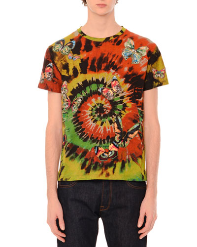 Tie-Dye Short-Sleeve T-Shirt with Embroidered Butterflies, Multi