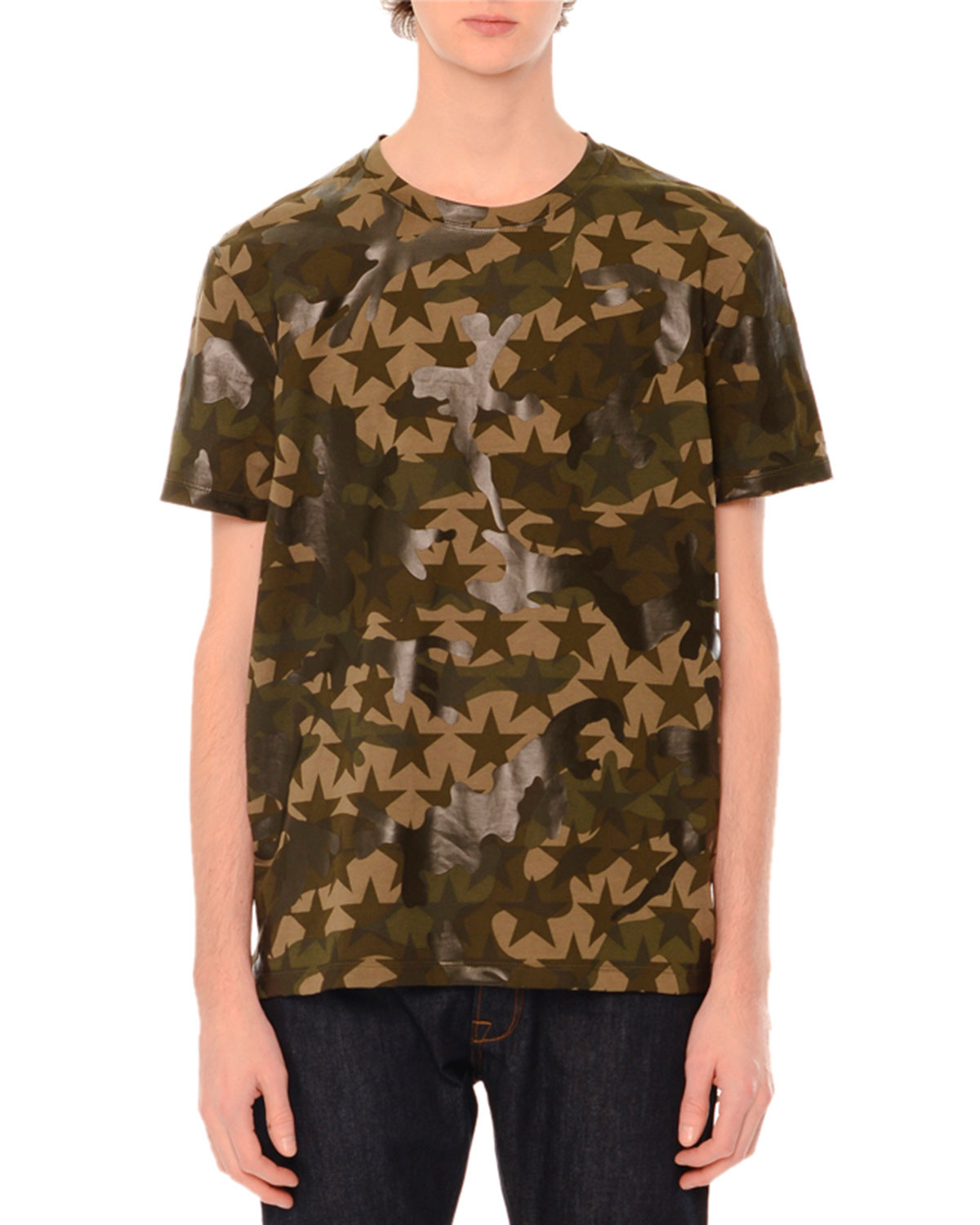 Camo & Star-Print Short-Sleeve T-Shirt, Green Multi
