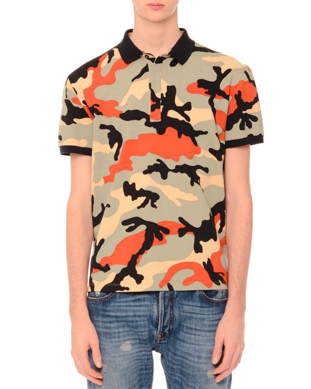 Camo-Print Short-Sleeve Polo Shirt, Multicolor