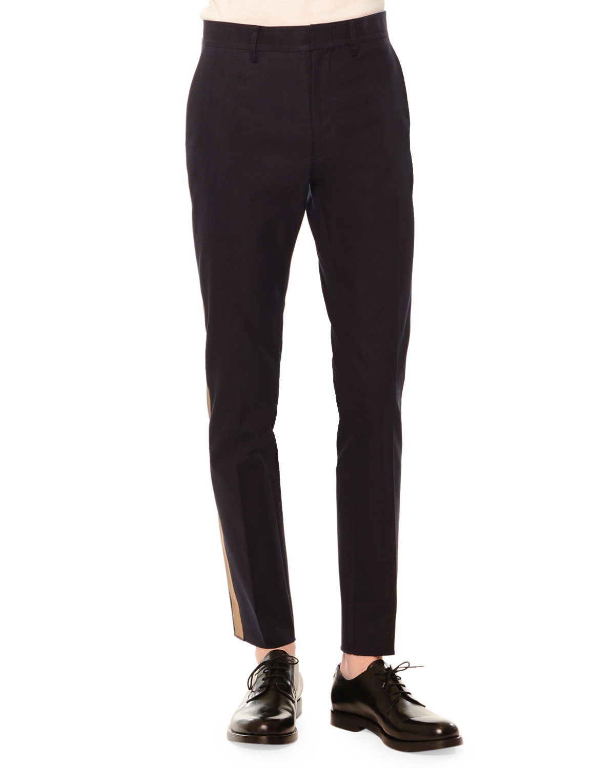 Side-Stripe Slim-Fit Trousers, Navy/Army