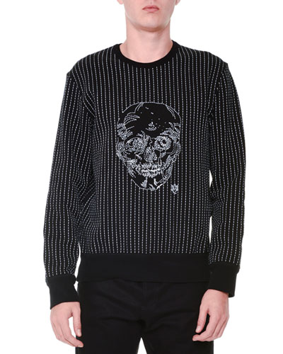 Contrast-Stitch & Skull Crewneck Sweater, Black/White