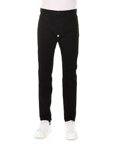 Straight-Leg Coated Jeans, Black