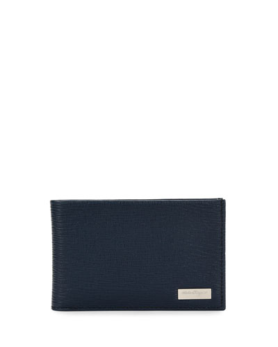 Revival Leather Bifold Wallet, Navy/Blue