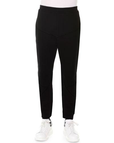 Raw-Edge Cotton Sweatpants, Black
