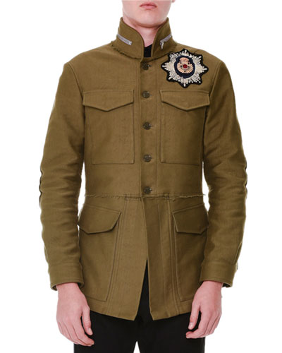 Cotton Beaded Embroidery Jacket, Military Green