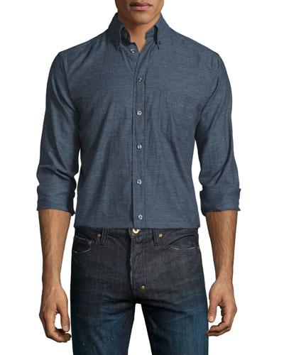 Herringbone Long-Sleeve Sport Shirt, Black