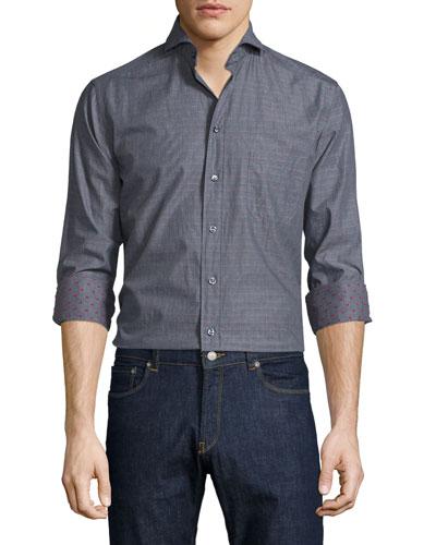 Mini Dot-Print Long-Sleeve Sport Shirt, Dark Gray/Pink