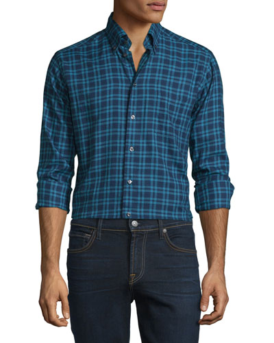 Plaid Long-Sleeve Woven Sport Shirt, Navy/Turquoise