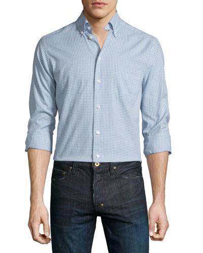 Mini-Plaid Long-Sleeve Sport Shirt, Light Blue
