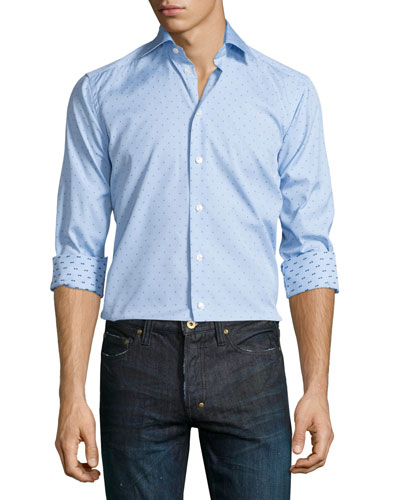 Mini Dot-Print Long-Sleeve Sport Shirt, Light Blue/Navy