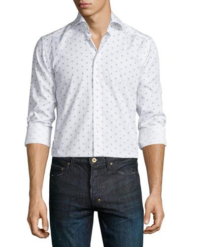 Mini Spaceship-Print Long-Sleeve Sport Shirt, White