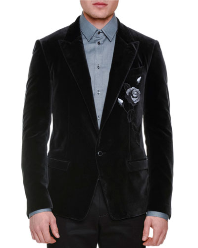 Rose-Embroidered Two-Button Velvet Jacket, Charcoal