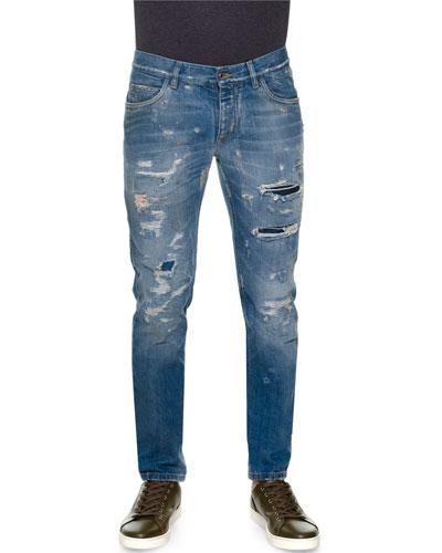 Destroyed Five-Pocket Denim Jeans, Light Blue