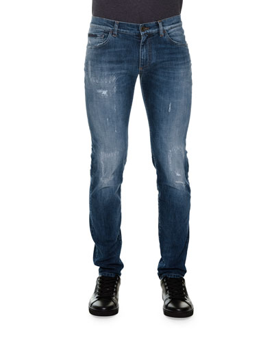 Distressed Denim Jeans with Embroidered-Rose, Blue