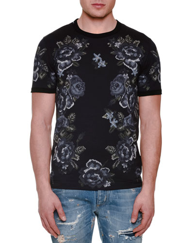 Embroidered Rose-Print Short-Sleeve Tee, Gray