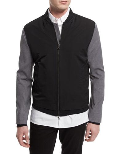Highline Mixed Media Varsity Bomber Jacket, Black