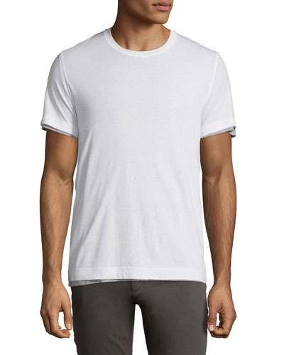 Reversible Double-Layer Crewneck T-Shirt, White
