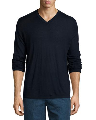 V-Neck Wool-Silk Sweater, Navy
