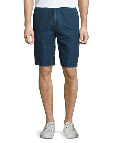 Cotton/Linen Denim Shorts, Blue