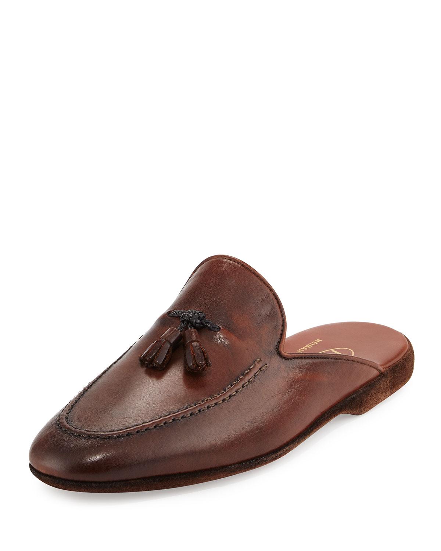Tassel Leather Slipper, Brown
