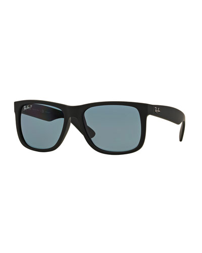Flat-Top Plastic Sunglasses, Black