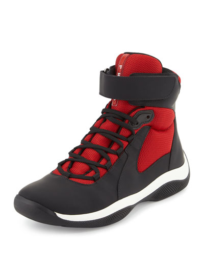 America's Cup Men's High-Top Sneaker, Black/Red