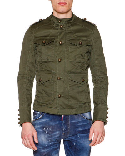 Large-Button Military Jacket, Olive