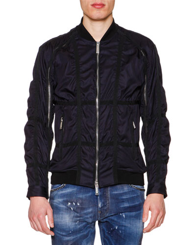 Tape-Trimmed Bomber Jacket, Navy