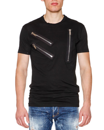Zipper-Detail Crewneck Short-Sleeve Tee, Black