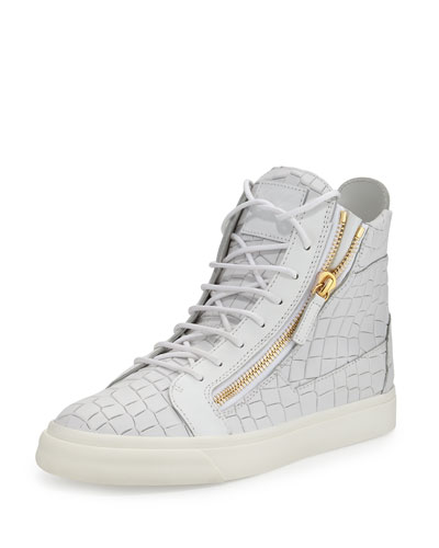 Men's Crocodile-Embossed Leather High-Top Sneaker, White