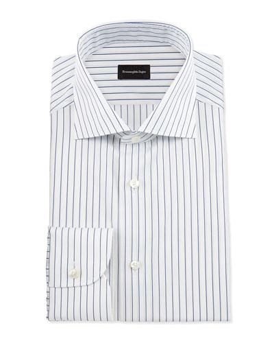 Pinstripe Woven Dress Shirt, White/Navy