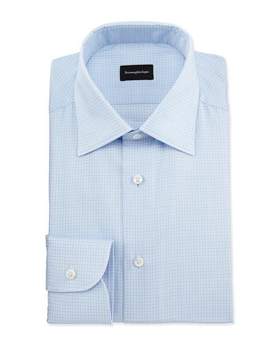 Textured Grid-Check Dress Shirt, Light Blue