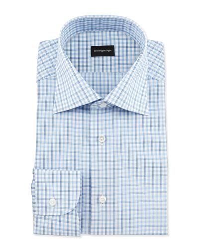 Multi-Check Woven Dress Shirt, Blue