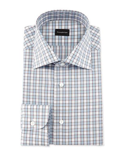 Checkerboard Woven Dress Shirt, Blue/Brown