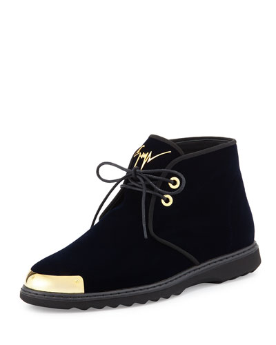 Men's Gold Cap-Toe Velvet Chukka Boot, Navy