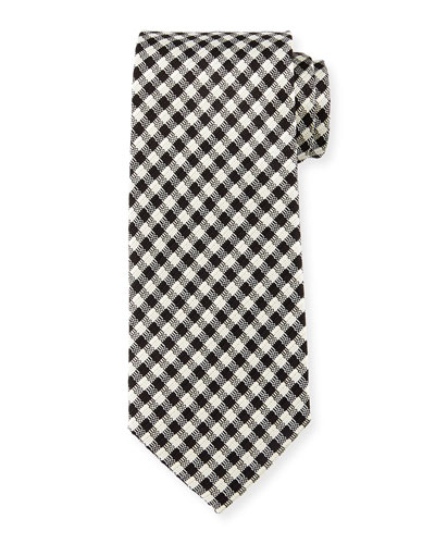 Textured Check Silk Tie, White/Black