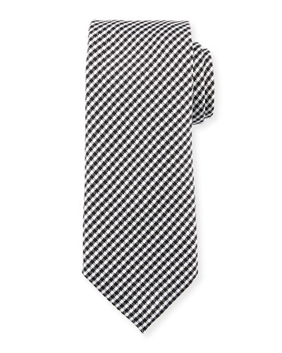 Textured Micro-Check Silk Tie, White/Black