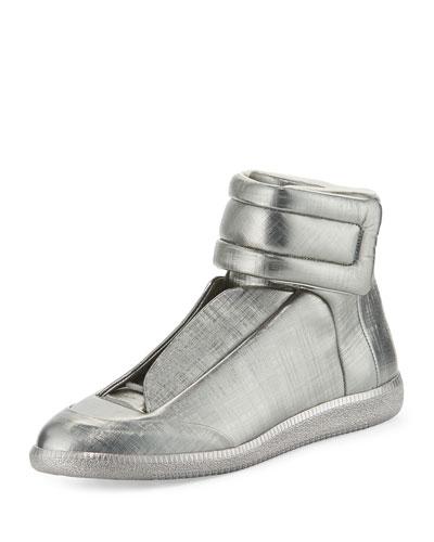 Future Metallic Leather High-Top Sneaker, Pewter