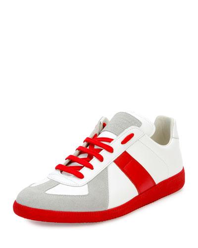 Replica Colorblock Low-Top Sneaker, White/Red
