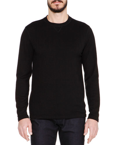 Tonal Herringbone Long-Sleeve Crewneck Sweater, Black