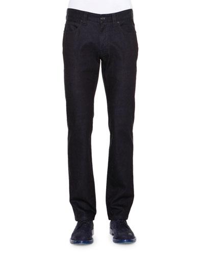 Five-Pocket Dark Wash Denim Jeans, Navy