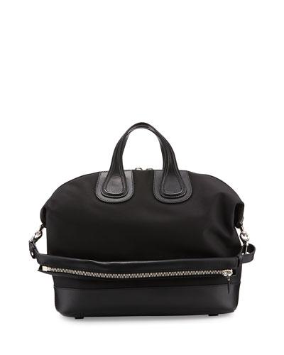 Nightingale Canvas & Leather Satchel Bag, Black