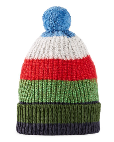 Striped Knitted Beanie Hat, Green/Blue