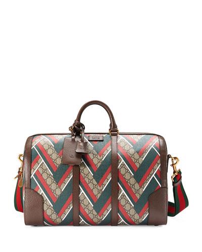 GG Chevron Canvas Duffel Bag, Red/Green