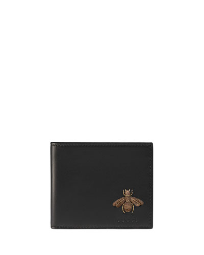 Bee Embroidery Bi-Fold Leather Wallet