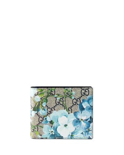 GG Blooms Canvas Bi-Fold Wallet, Blue