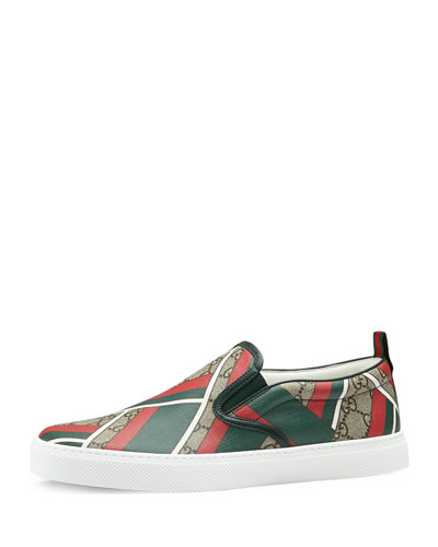 Dublin GG Chevron Canvas Slip-On Sneaker, Green/Red/Beige