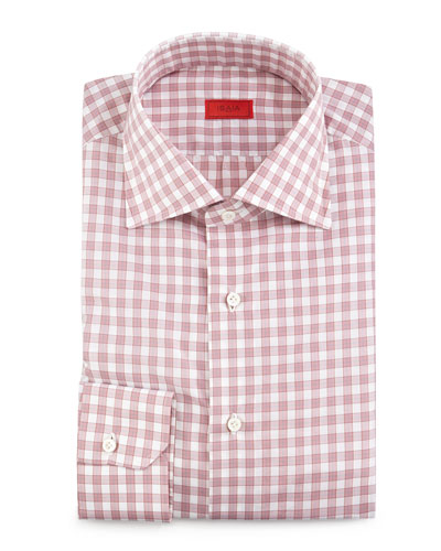 Box-Check Woven Dress Shirt, Soft Mauve